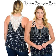 New Ladies Stunning Navy Top With Lace Inset Back Plus Size 18/3XL (1036)OF
