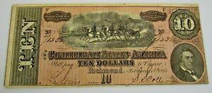 1864 Confederate Currency $10 Note Civil War