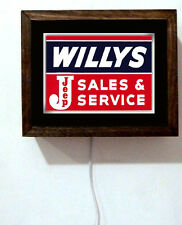 Willys Jeep Auto Dealer Willy's Service Sales Advertising Light Lighted Sign