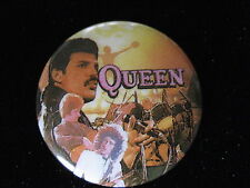 Queen-Freddie Mercury-Concert Shot-Yellow-Pin Badge Button-80's Vintage-Rare