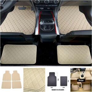 4PCS Leather Car Floor Mat Carpet Waterproof Pad Front Rear Carpet Protect Pad
