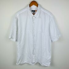 Quiksilver Mens Button Up Shirt Size XL White Short Sleeve Good Condition
