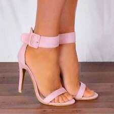 BABY LIGHT PINK ANKLE STRAP STILETTOS PEEP TOES STRAPPY SANDALS HIGH HEELS SHOES