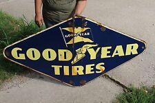 "Large Vintage 1948 Goodyear Tires Tire Gas Station Oil 60"" Porcelain Metal Sign"