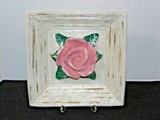 Plaster Picture Frame Pink Rose Decor-Artist Created Art Deco