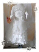 C  - Robe à Bretelles Cortège Mariage Baptême Blanc Fleurs Juju Mariage  T 4 ans