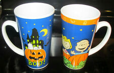 2 PEANUTS Great Pumpkin 16oz Coffee Cup Latte Mug Halloween Snoopy Linus Sally
