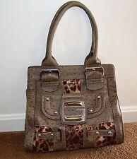 Guess Kalina Jungle Faux Ostrich & Snake Skin Purse Handbag Satchel
