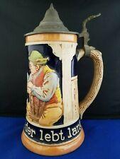 """Reinhold Merkelbach German Beer Stein #3396 Wer Lange Trinkt Der Lebt Lange 8""""h"""