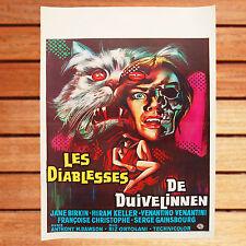 M. DAWSON JANE BIRKIN AFFICHE CINEMA BELGE ORIGINALE 35X55 CM LES DIABLESSES
