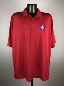 Men's Antigua Chicago Cubs Red Polyester Short-Sleeve MLB Baseball Polo XL NWOT