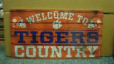 """CLEMSON TIGERS WELCOME TO TIGERS COUNTRY WOOD SIGN 13""""X24'' NEW WINCRAFT"""