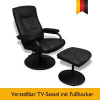 TV-Sessel mit Fußhocker Kunstledersessel Verstellbar Relaxsessel Schwarz Liege