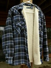 VTG Heavy Plaid Flannel Jacket Lined Woodsman Western Rancher Pearl Snap Coat M