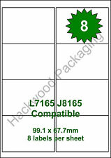 8 Labels per Sheet x 10 Sheets L7165 / J8165 White Matt Copier Inkjet Laser