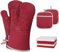 Oven Mitts, Pot Holders & Kitchen Cotton Towels Set Heat Resistant Gloves Red