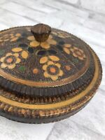 """Vintage Handmade Round Wood Covered Candy Dish Floral and Copper Inlay~Poland 6"""""""