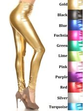 SHINY COATED METALLIC WET LOOK LEGGINGS FOOTLESS  S M L XL  ASSORTED COLORS