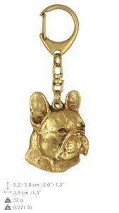 French Bulldog - gold plated keyring with image of a dog, quality, Art Dog USA