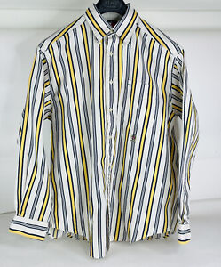 Vintage Tommy Hilfiger Men's Long Sleeve Button Up Shirt Yellow Navy Striped M