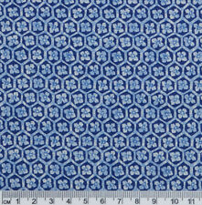 1/2 metre Blue White Floral Flowers in Mosiac Hexagons Quilt Patchwork Fabric