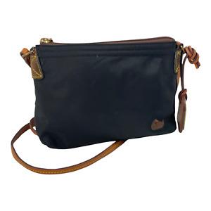 Dooney & Bourke Classic Black Nylon & Leather Cross-Body Purse Handbag Bag