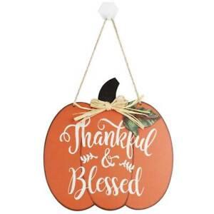 Rustic Pumpkin Happy Harvest Wooden Plaque Autumn Fall Board Sign#^& lskn