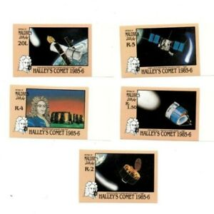 Maldives 1986 SC# 1151-5 Space, Halley's Comet - Imperf Set of 5 Stamps - MNH