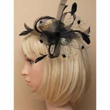 Black fascinator with net loops and feather tendrils on clear comb