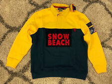 DS NEW Polo Ralph Lauren Snow Beach Sport Rugby XS Shirt Yellow Navy Pullover
