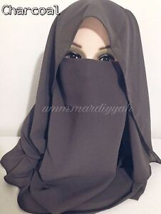Niqab and Hijab Set - 2PC- Face VEIL- Various Colours