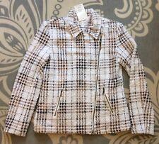 Erin London White Brown Plaid Zip Front Blazer Jacket Size S