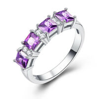 Amethyst & Blue Topaz Gemstone Silver 925 Ring Size L N P R Wedding Jewelry Gift