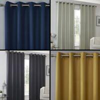 Plain Eyelet Ring Top Pair Thermal Blockout Curtains Blue Yellow Grey Natural