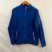Eddie Bauer Womens Blue High Neck Full Zipper Pocket Fleece Jacket Size Large
