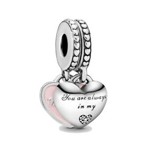 Authentic Pandora Mother and Daughter Hearts S925 ALE Dangle Charm 792072EN40