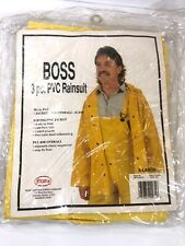 Boss 3 Piece PVC Rainsuit with Jacket Bibs and Hood Yellow 20 Mil Size XL