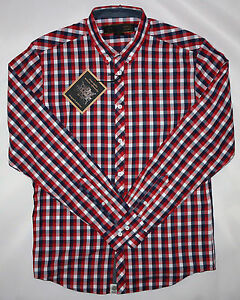 MERC LONDON MENS CHECK SHIRT IN RED/BLUE SIZE M  NWT
