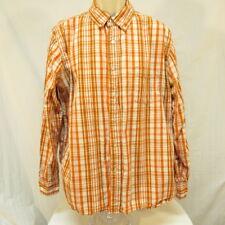 Red Camel Shirt Orange and White Plaid Size X Large