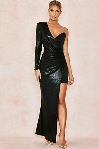HOUSE OF CB 'Vona' Black Asymmetric Draped Gown S 8 /10 MM 5038