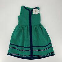 Janie & Jack Dress Girls Kids Size 4 Green Tulle Sleeveless Polka Dot W/ Flower