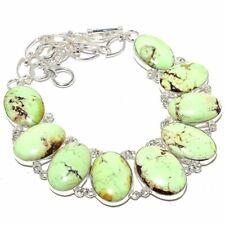 """Boulder Lemon Chrysophrase Gemstone 925 Sterling Silver Necklace 18"""""""