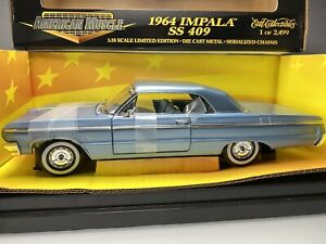 Ertl 1964 Chevrolet Impala SS 409 Hardtop 1:18 Silver Blue Diecast Muscle Car