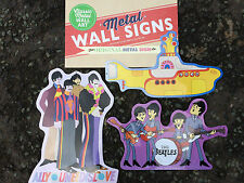 Beatles Set Of Three Animated Metal Tin Wall Plaque Sign