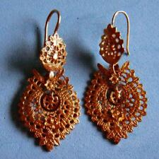Lovely Vintage Gilded Sterling SILVER Nature Flowers Detailed Pair of Earrings!
