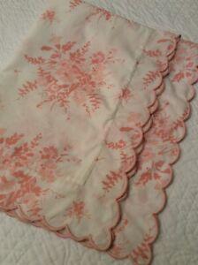 Pratesi Boudoir Pillow Sham Floral  Embroidered Scalloped Edge Apricot Pink EUC