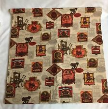 Woodco Upholstery Drapes Fabric 3 Yds Railroad Printing Press Material