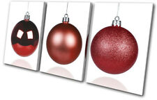 Baubles Decorations Christmas TREBLE DOEK WALL ART foto afdrukken