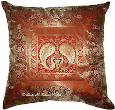 "Brown 24"" XL Peacock Floor Cushion Pillow Cover Silk Brocade Ethnic Throw Indian"