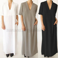 ZANZEA Women Short Sleeve V-Neck Shirt Dress Kaftan Casual Long Maxi Dress Plus